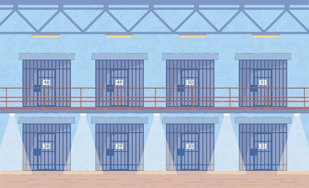 廊下の刑務所のドア Premiumベクター