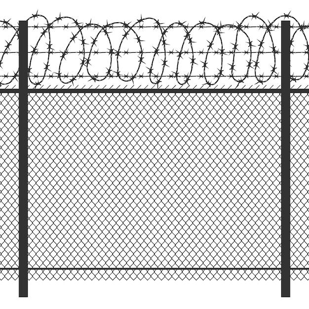 Prison privacy metal fence Premium Vector