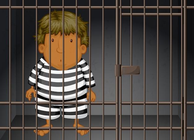 囚人は刑務所に閉じ込められています 無料ベクター
