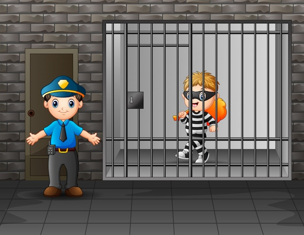 Prisoner in the jail being guarded by prison guards Premium Vector