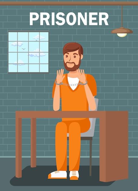 Prisoner sitting in jail cell flat poster template Premium Vector
