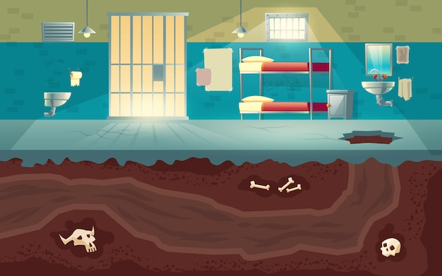 Prisoners or dangerous criminals group escape from jail to freedom cartoon  concept with empty prison cell interior, hole punched in cement floor and underground tunnel dug in soil illustration Free Vector