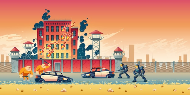 Prisoners rebellion or riot in city prison Free Vector