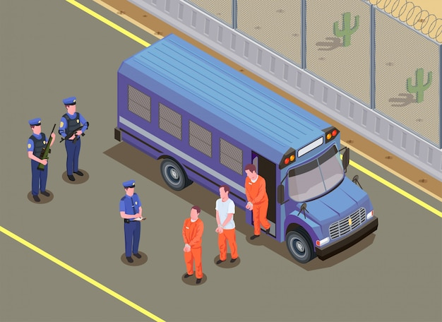 Composizione isometrica nel trasporto dei prigionieri con le guardie giurate che guardano i criminali condannati in uniforme che fa un passo fuori dall'illustrazione del furgone Vettore gratuito