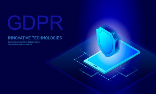 Privacy data protection law gdpr. data regulation sensitive information safety shield european union Premium Vector