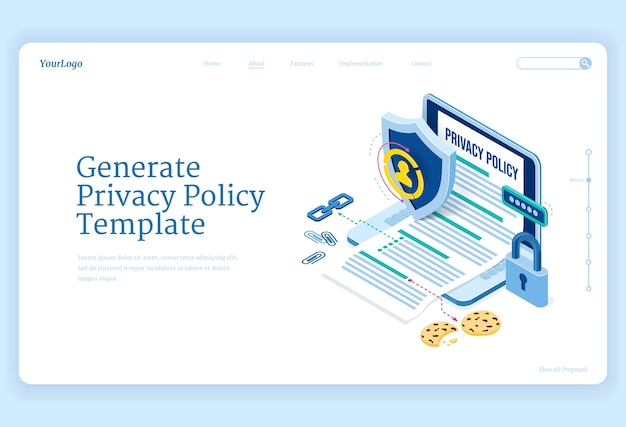 Политика конфиденциальности изометрической целевой страницы, защита данных, цифровая безопасность, безопасность личной конфиденциальной информации в интернете. ноутбук с созданным шаблоном, щитом и замком Бесплатные векторы