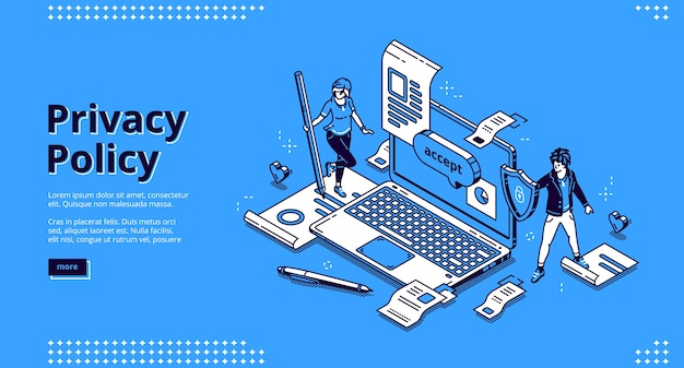 Privacy policy isometric landing page Free Vector