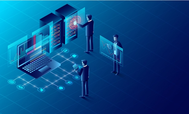 Privacy protection and software for development security. isometric. illustration cartoon vector Premium Vector