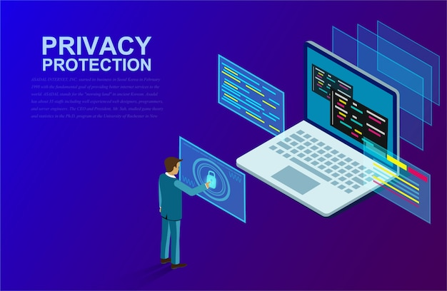 Privacy protection and software for development with businessman stood in front of a computer with high security. Premium Vector