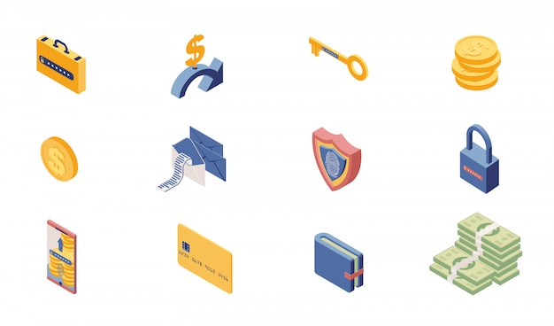Private account access icons isometric set Premium Vector