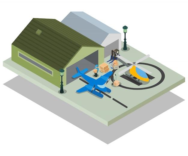 Private airport concept scene Premium Vector