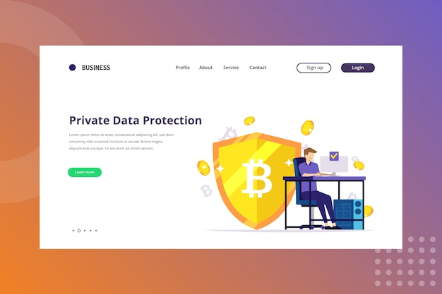 Private data protection illustration for cryptocurrency concept on landing page Premium Vector