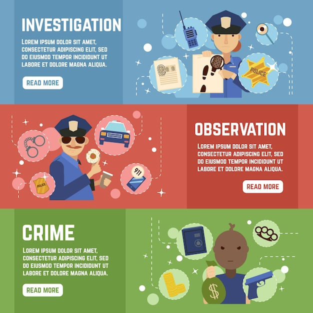 Private detective banners set Free Vector