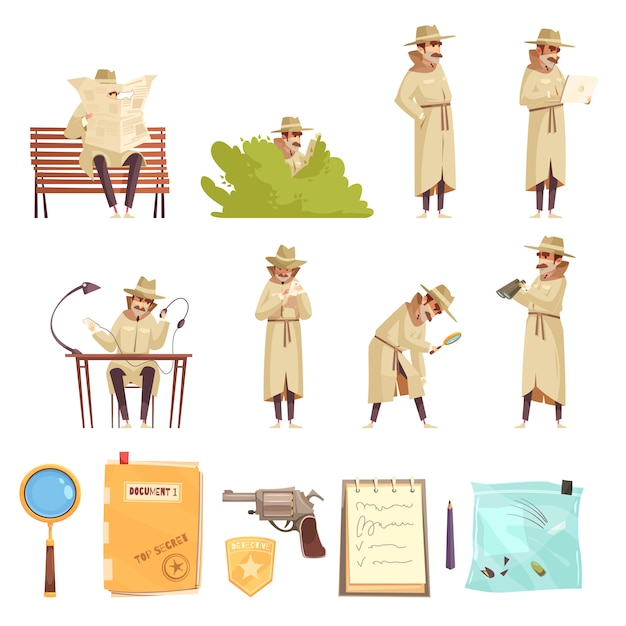 Private detective cartoon icons collection Free Vector