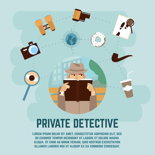 Private detective concept Free Vector