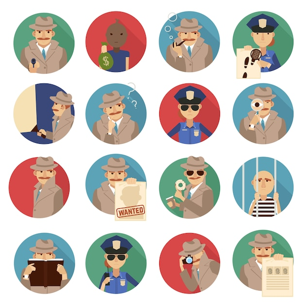 Private detective icons set Free Vector
