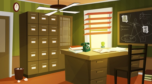 Private detective office interior cartoon Free Vector