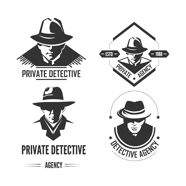 Private detective promotional monochrome emblems with man in hat and classic coat. Premium Vector