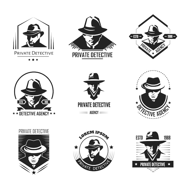 Private detective promotional monochrome logo with man in hat Premium Vector