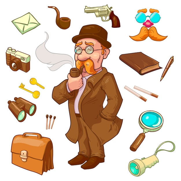 Private eye character Free Vector