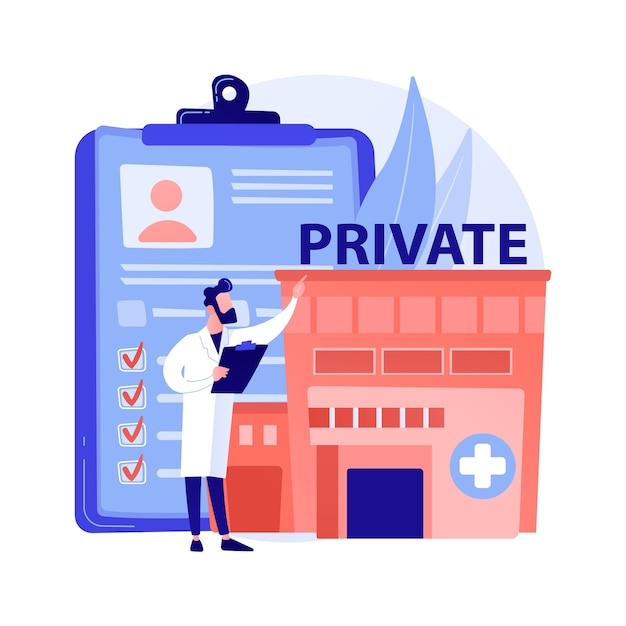 Private healthcare abstract concept vector illustration. private medicine, healthcare insurance, paid medical services, health center, specialist consulting, clinic facility abstract metaphor. Free Vector