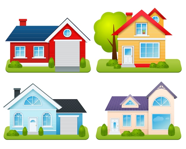 Private houses set Free Vector
