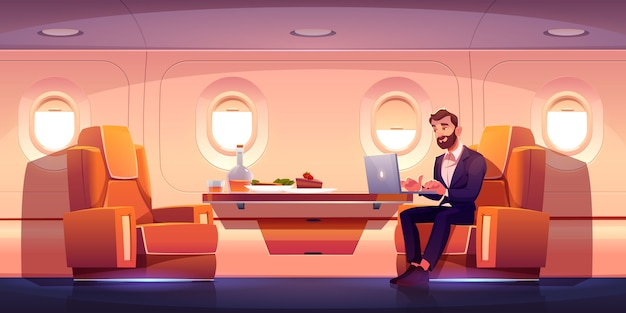Private jet interior, business class in airplane Free Vector
