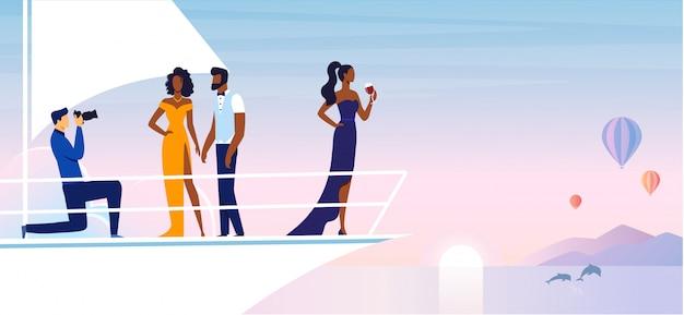 Private photoshoot on yacht illustration Premium Vector