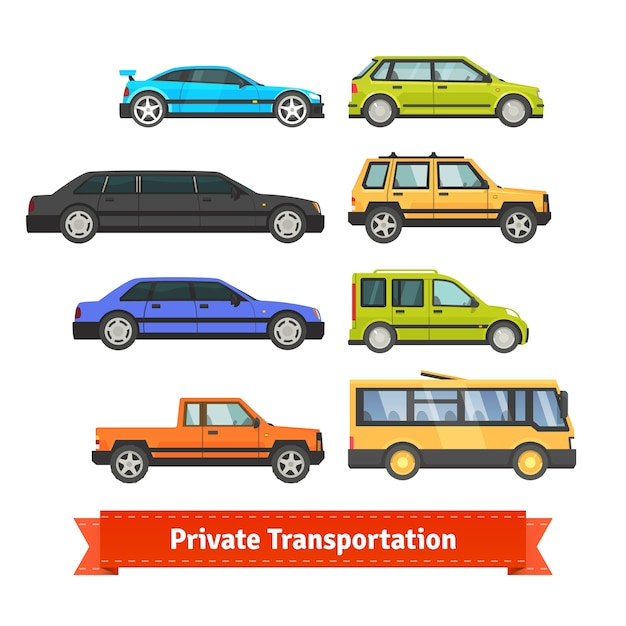 Private transportation. various cars and vehicles Free Vector