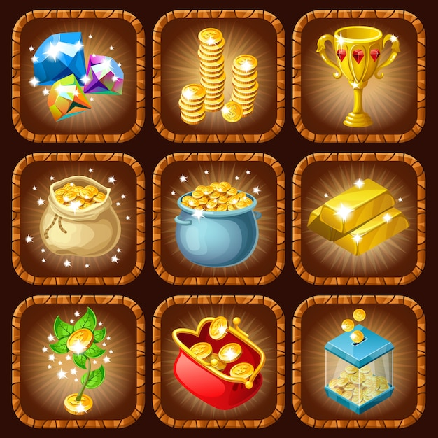 Prizes and rewards set Free Vector