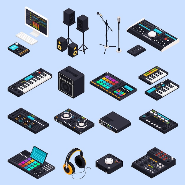 Pro audio gear isolated set Free Vector