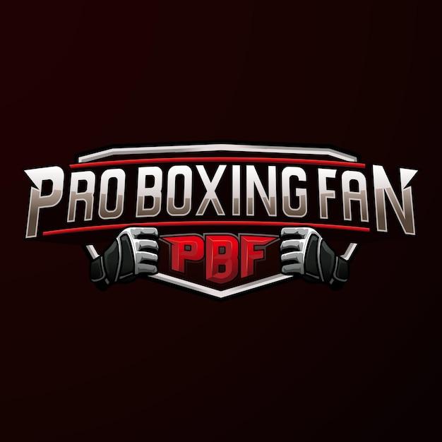 Pro boxing sport emblem logo Premium Vector