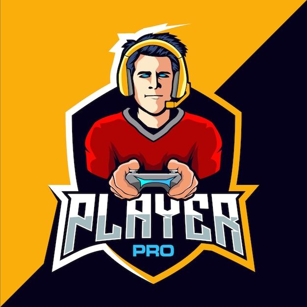プロプレイヤーeスポーツゲームのロゴデザイン Premiumベクター
