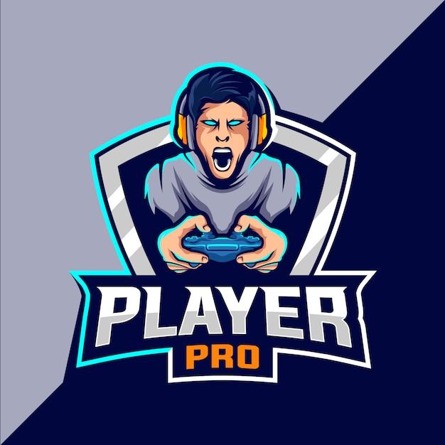 Pro player esport game logo design Premium Vector
