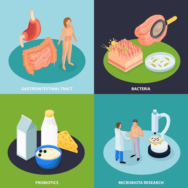 Probiotics isometric concept illustration Free Vector