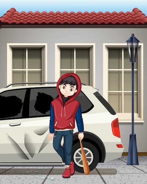 Problem boy hit the car window Free Vector