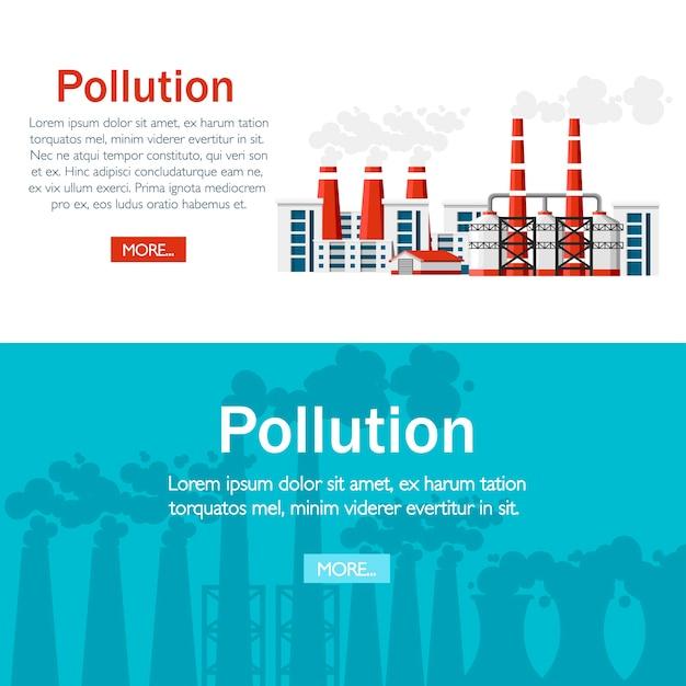 Проблемы концепции экологии. заводы с дымовыми трубами. проблема загрязнения окружающей среды. земляной завод загрязняют углеродным газом. иллюстрация. иллюстрация на белом фоне. Premium векторы