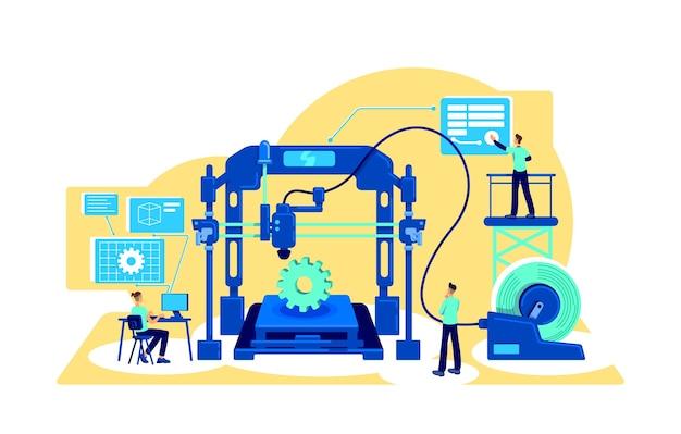Плоская концепция автоматизации процессов. цифровизация заводского оборудования. цифровая трансформация. изготовление 2d-персонажей мультфильмов для веб-дизайна. креативная идея автоматизации Premium векторы
