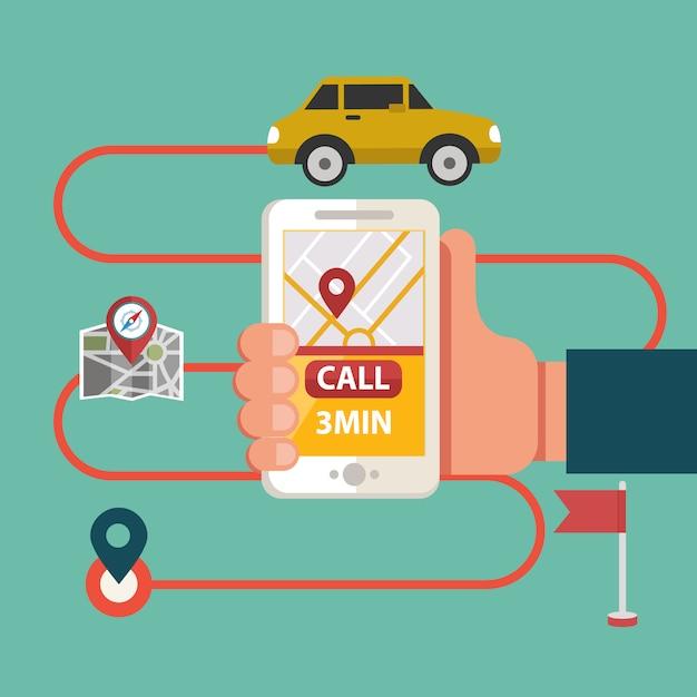 Process of booking taxi via mobile app Premium Vector