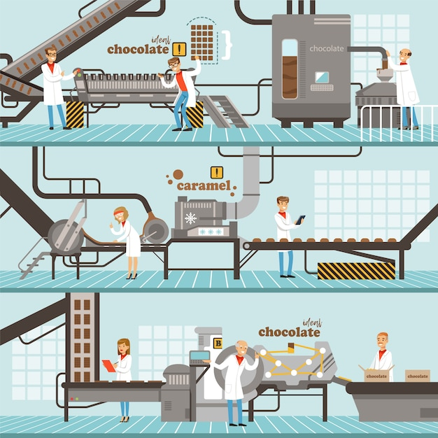 Process of caramel and chocolate production set of horizontal colorful banners chocolate factory co