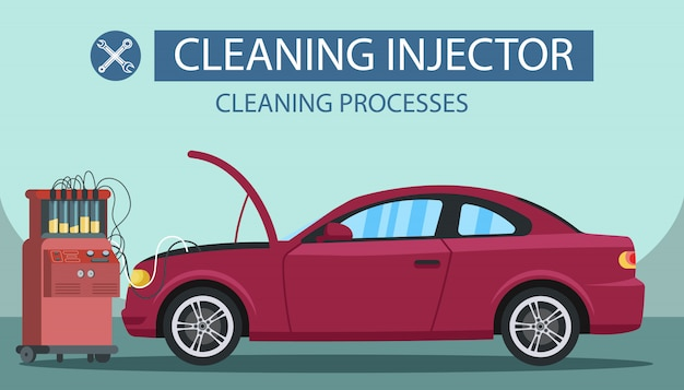 Process cleaning injector. service station. Premium Vector
