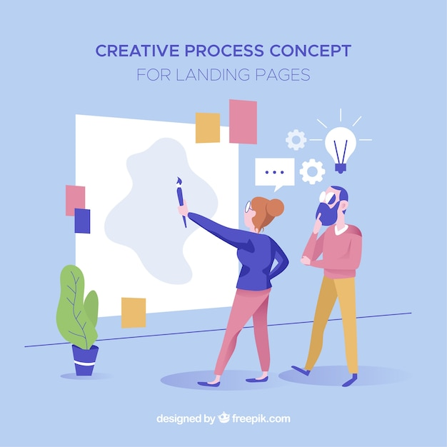 Process concept for landing page Free Vector