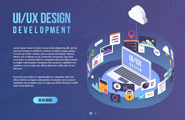 The process of developing interface for laptop. flat design template for mobile app and website design development with included ui ux elements. Premium Vector