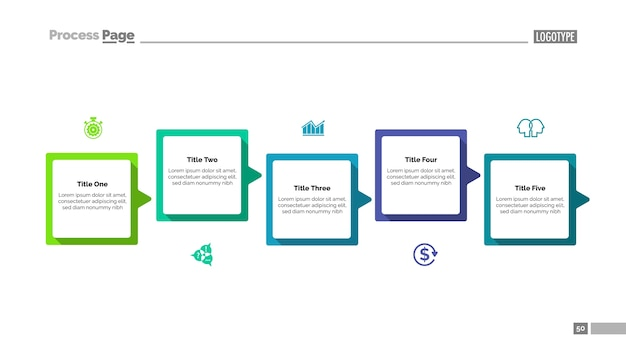 Process Diagram With Five Steps Template Vector Free Download - Process steps template