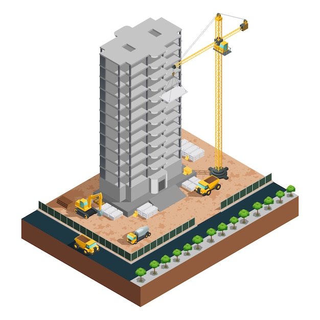Process of many-storeyed building construction isometric composition with various vehicles and mater Free Vector
