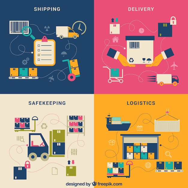 Process of purchasing delivery Free Vector