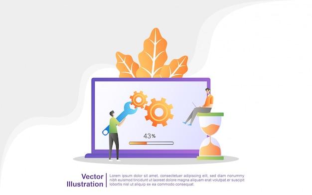 Процесс обновления до системного обновления, замены более новых версий и установки программ. Premium векторы