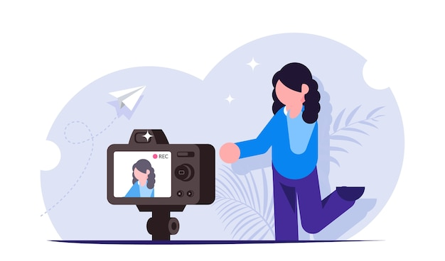 Process of shooting video content for a blogger or streamer Premium Vector