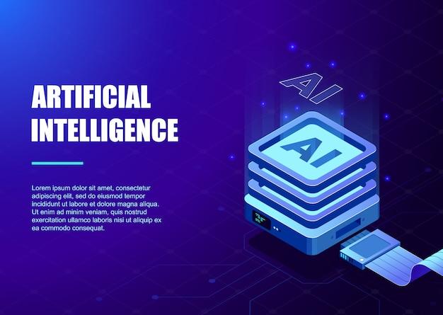 人工知能テンプレート用のプロセッサチップとデジタル回路 Premiumベクター