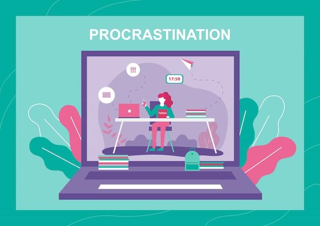 Procrastinating woman on laptop screen Premium Vector